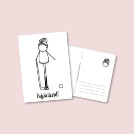 Postkaart - Hockey meisje (5 stuks)
