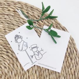 Minikaartje - Sneeuwpop (per 25 stuks)