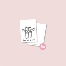 Set van 5 minikaartjes - Tweeling jarig jongens (5 setjes)