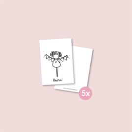 Set van 5 minikaartjes - Meisje met slinger (5 setjes)