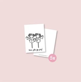 Set van 5 minikaartjes - Tweeling jarig meisjes (5 setjes)