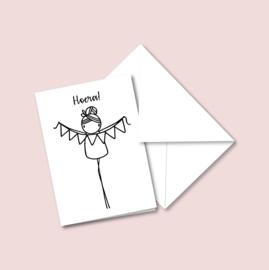 Dubbele kaart - Hoera! (5 stuks)