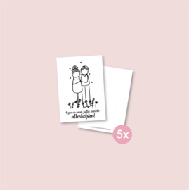 Set van 5 minikaartjes - Allerliefste opa en oma (5 setjes)