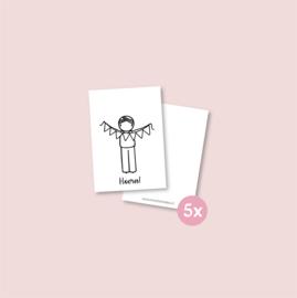 Set van 5 minikaartjes -Jongen met slinger (5 setjes)