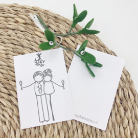 Minikaartje - Mistletoe (per 25 stuks)