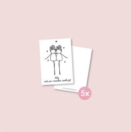 Set van 5 minikaartjes - Vriendin zoals jij (5 setjes)