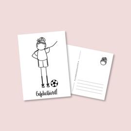 Postkaart - Voetbal meisje (5 stuks)