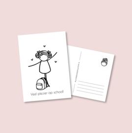 Postkaart - Naar school meisje (5 stuks)