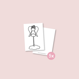 Set van 5 minikaartjes - Engel (5 setjes)
