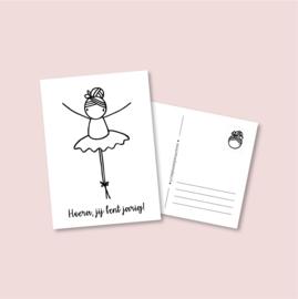 Postkaart - Hoera Ballerina (5 stuks)