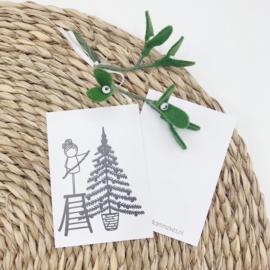 Minikaartje - Kerstboom versieren (per 25 stuks)