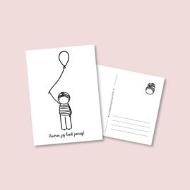 Postkaart - Jongen met ballon (5 stuks)