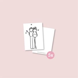 Set van 5 minikaartjes - Valentijn (5 setjes)