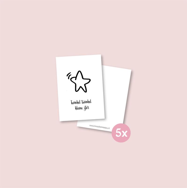 Set van 5 minikaartjes - Twinkel Twinkel (5 setjes)