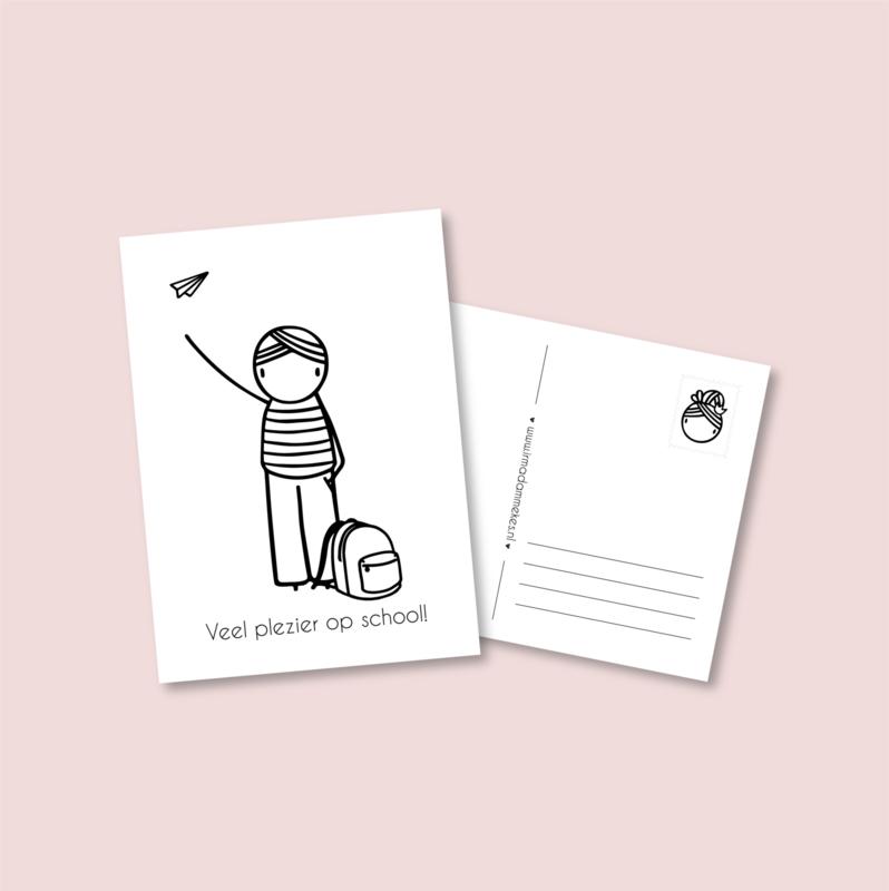 Postkaart - Naar school jongen (5 stuks)