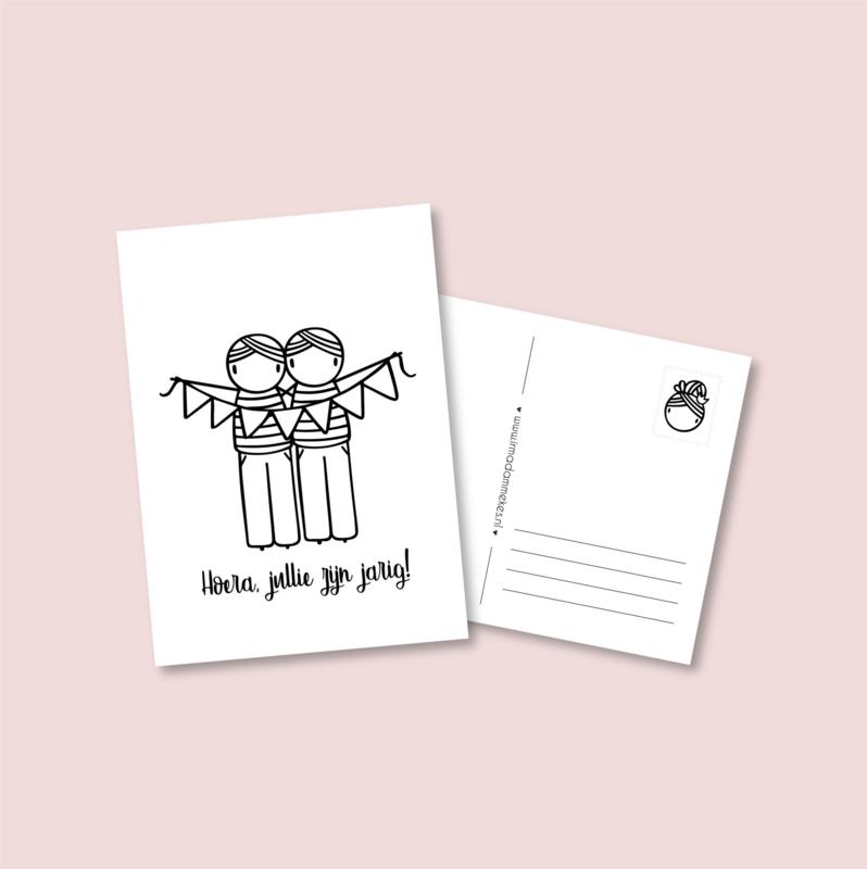 Postkaart - Jarige tweeling jongens (5 stuks)