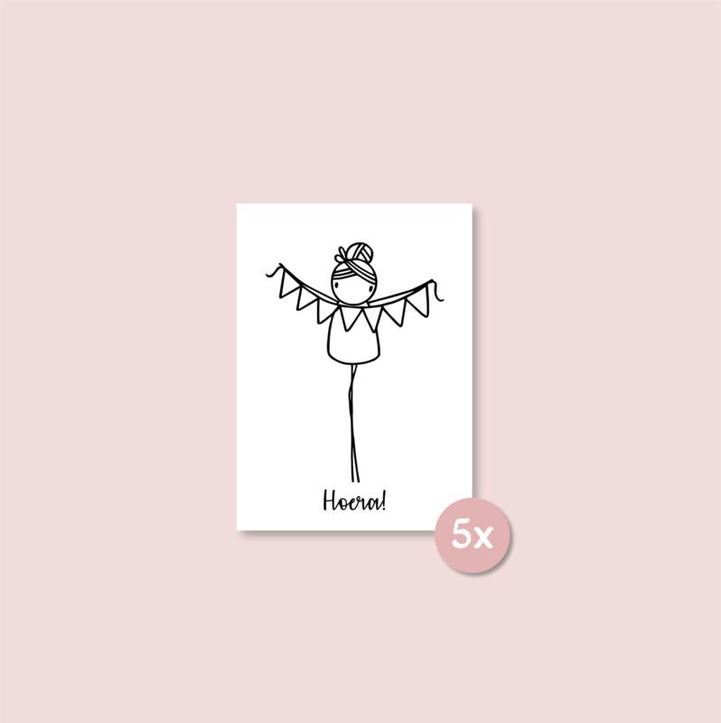 Minikaartje - Hoera! (per 25 stuks)