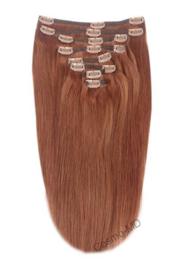 Clip in haarextensions (Steil) 50cm (180 gram), kleur #33 - Dark Auburn/Copper Red