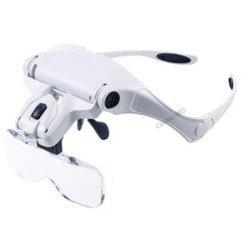 Vergrootglas / loepbril met 5 verschillende vergrotingen