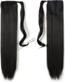 Wrap Around Ponytail  (Steil) 55cm (Synthetisch haar), kleur - Natural Black - 2