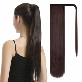 Wrap Around Ponytail  (Steil) 55cm (Synthetisch haar), kleur - Dark Brown/Mahonie - 2/33