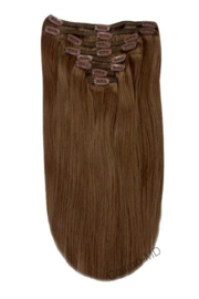 Clip in haarextensions (Steil) 50cm (180 gram), kleur #6B - Mousey Brown