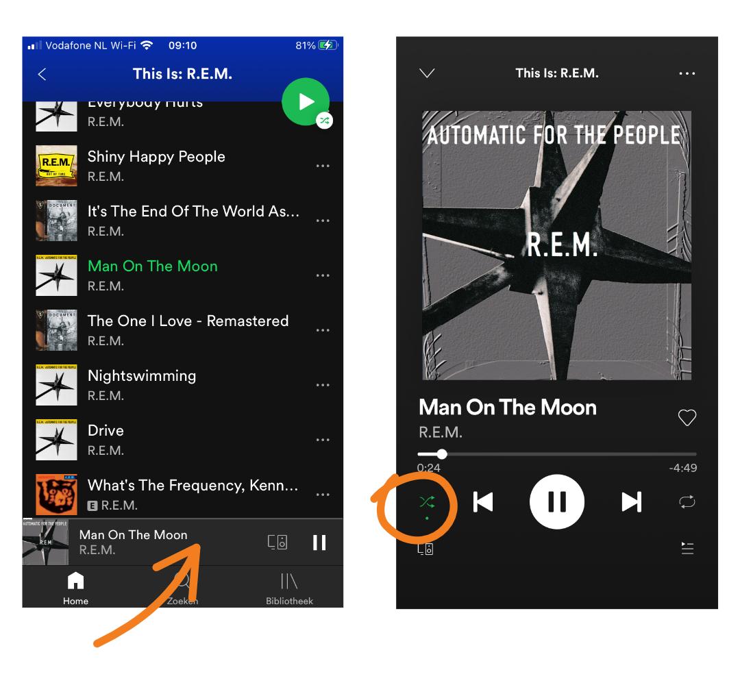 Spotify Shuffle uitzetten
