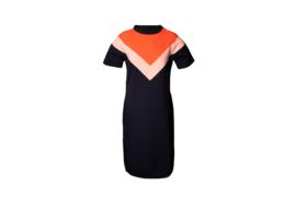 Mooi Vrolijk Dress Color Block Orange/ Light Pink/ Dark Blue