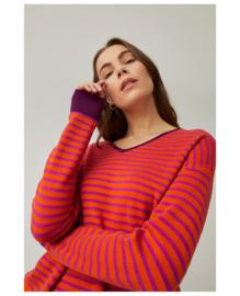 SURKANA Long Sleeve V-neck striped Jumper Fucsia