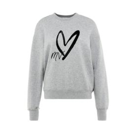 Mooi Vrolijk Sweater Printed - Gray/ Black Heart