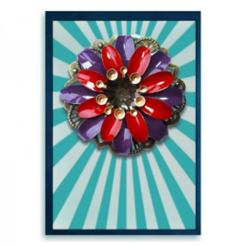 Urban Hippies Tiki Brooch purple&bloodred