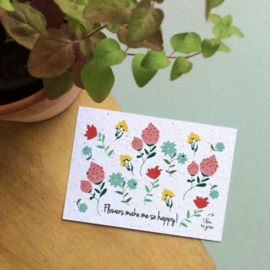 Bloom Your Message - Bloeikaarten 'Flowers make me so happy!' (fleurige bloemen)