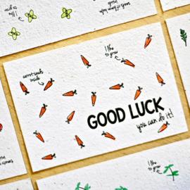 Bloom Your Message - Bloeikaarten 'GOOD LUCK you can do it!' (wortels)