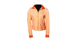 Mooi Vrolijk Vest Zipper Animal Print Beige and Orange
