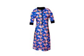 Mooi Vrolijk Dress Zipper Cobalt Blue Flowers