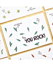 Bloom Your Message - Bloeikaarten 'Hey, YOU ROCK!' (rucola)