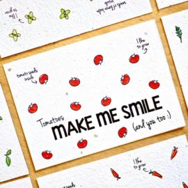 Bloom Your Message - Bloeikaarten 'MAKE ME SMILE' (tomaten)