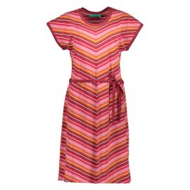Bakery Ladies Dress Jill Stripes - Burgundy & Tango Red