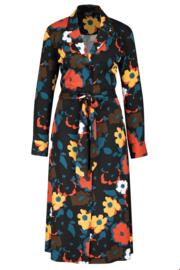 ZILCH Dress Buttons Bouquet Petrol