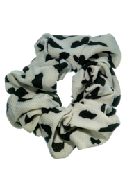 Opgepimpt Scrunchie wit/zwart