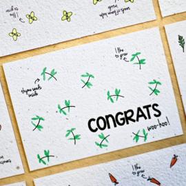 Bloom Your Message - Bloeikaarten 'Congrats' (tijm)
