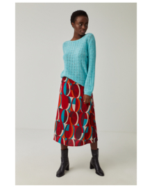SURKANA Boat Neck Pointelle Jumper M/L with Volume Turqouise