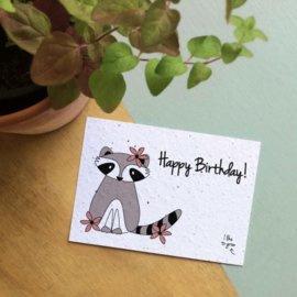 Bloom Your Message - Bloeikaarten 'Happy Birthday' (fleurige bloemen)