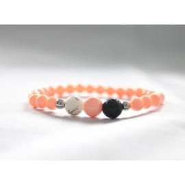 Lavasteen armband peach