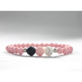 Lavasteen armband pastel pink