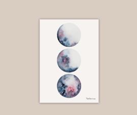 Blauwe maanstanden poster A4