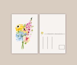 Bloemenmix geel wenskaart A6