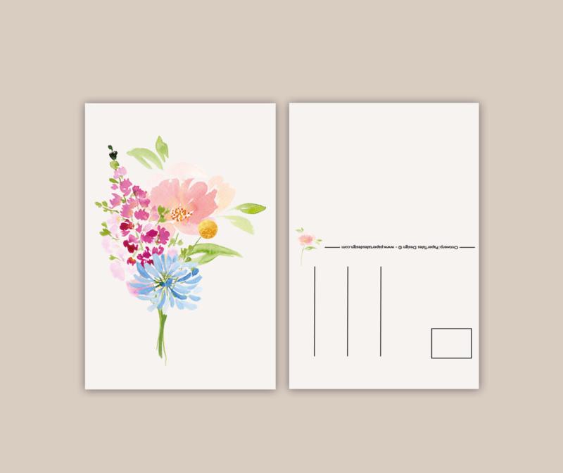 Bloemenmix roze wenskaart A6