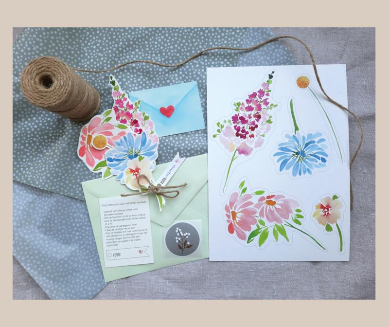 DIY bloemen wenskaart - mix 2
