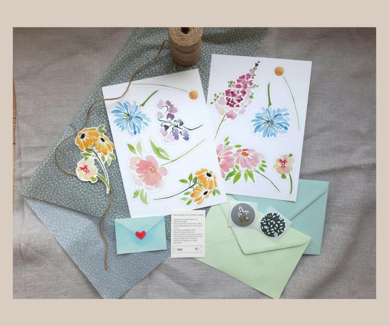 DIY bloemen wenskaart - set voor 2 boeketjes